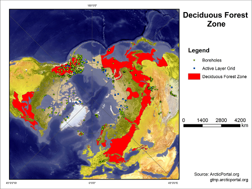 Deciduous Forest Boreholes Active Layer Map SMALL