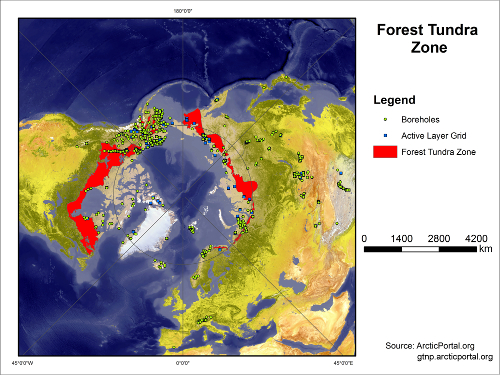Forest Tundra Boreholes Active Layer Map SMALL