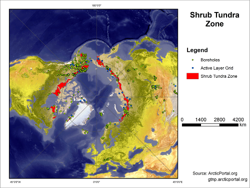 Shrub Tundra Boreholes Active Layer Map SMALL
